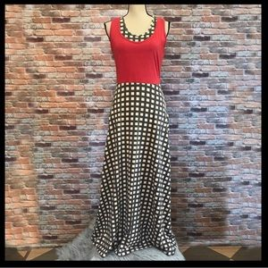 Modcloth Effies Heart Checkered Print Maxi Dress